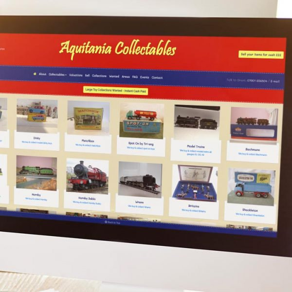 Aquitania Collectables Website Design by Lucent Dynamics Bournemouth
