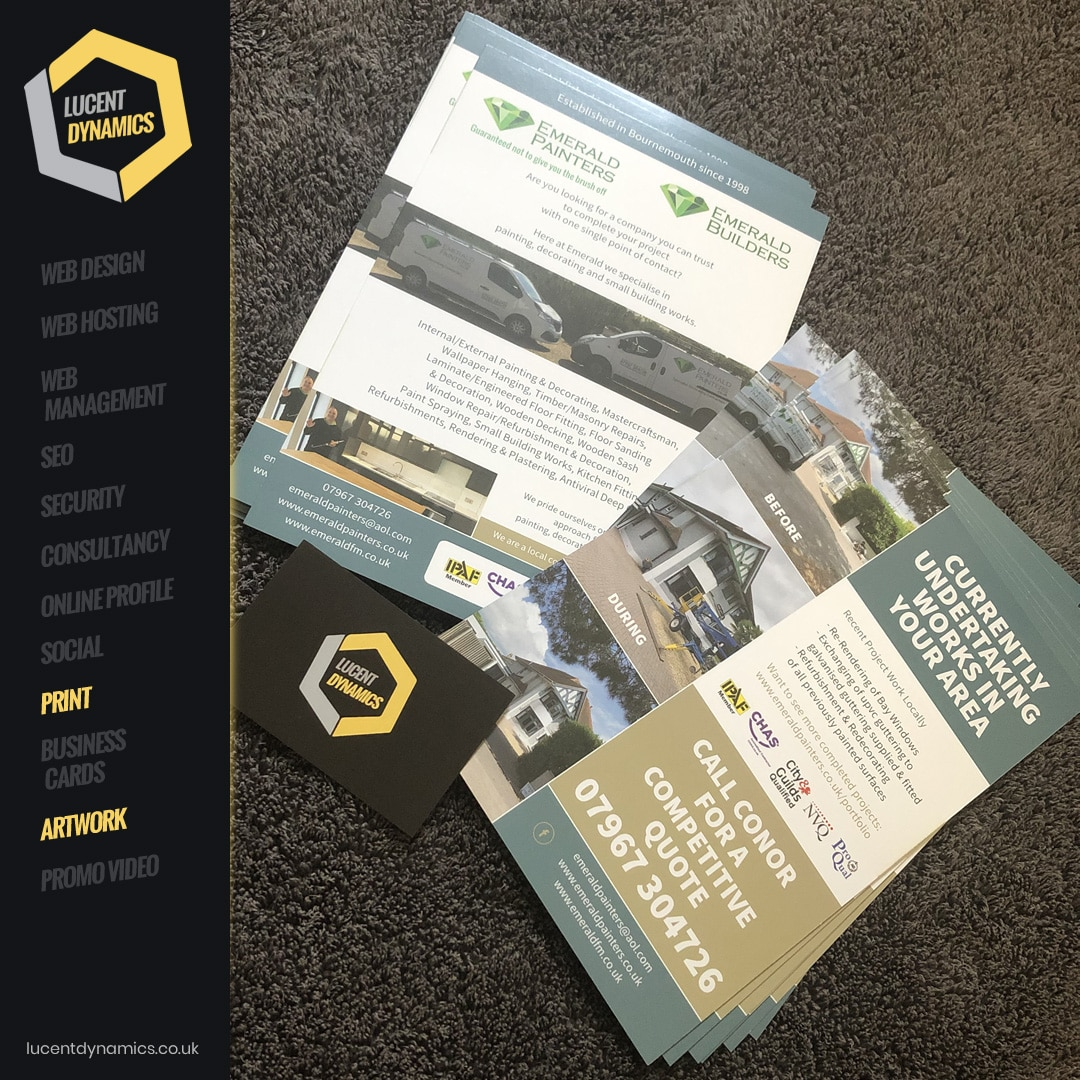 Emerald Painters Flyer Printing by Lucent Dynamics Bournemouth
