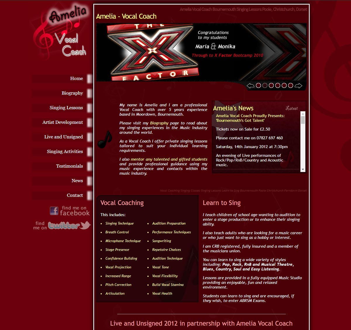 Amelia Vocal Coach Website Design Example by Lucent Dynamics in Bournemouth